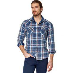 Koszula Jeansowa w Kratę Everlast. Brązowe koszule męskie LANCERTO, z bawełny, z kontrastowym kołnierzykiem. W wyprzedaży za 199.90 zł.