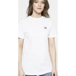 Adidas Originals - Top. Szare topy damskie adidas Originals, z aplikacjami, z bawełny, z okrągłym kołnierzem, z krótkim rękawem. Za 179.90 zł.
