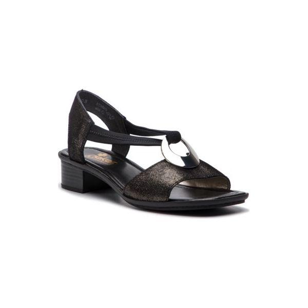 Sandały Rieker 62662 03 Czarne , Sandały na obcasie, Sandały