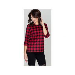 Bluzka K261 Czarny-Czerwony. Czarne bluzki damskie Lenitif, w kratkę, z tkaniny, z dekoltem na plecach. Za 89.00 zł.