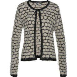 Sweter rozpinany z przędzy z długim włosem bonprix kamienisto-czarny. Szare kardigany damskie bonprix, z haftami. Za 74.99 zł.