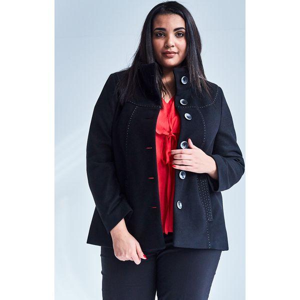 93cdff1e16a4fa Czarna elegancka kurtka płaszcz Vera OVERSIZE PLUS SIZE WIOSNA ...