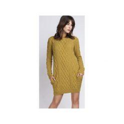 Tunika z kieszeniami, SWE090 żółty MKM. Żółte tuniki damskie Mkm swetry, z dzianiny, z długim rękawem. Za 143.00 zł.