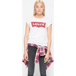 Levi's - Top. Brązowe topy damskie Levi's, z nadrukiem, z bawełny, z okrągłym kołnierzem, z krótkim rękawem. Za 79.90 zł.