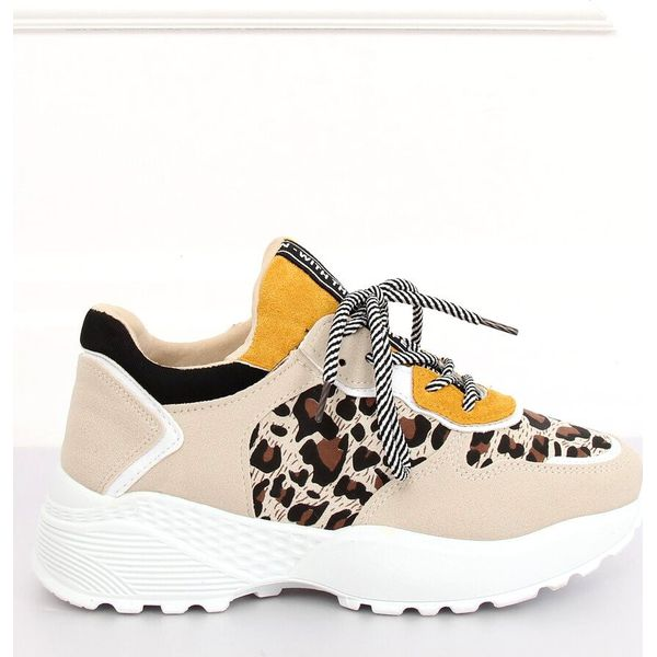 Buty sportowe beżowe BL170P Leopard Print brązowe