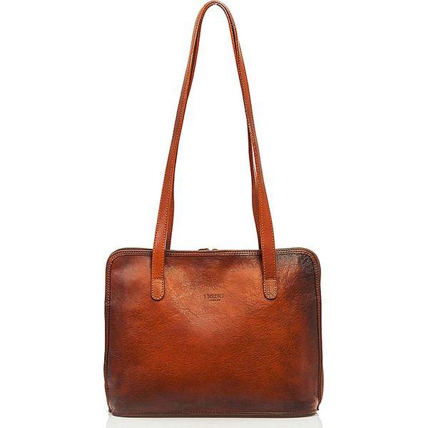83672645ac19c Skórzana torebka w kolorze brązowym - 34 x 27 x 10 cm - Brązowe ...