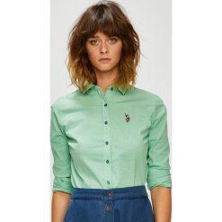 U.S. Polo - Koszula. Szare koszule damskie U.S. Polo, w kratkę, z bawełny, casualowe, z klasycznym kołnierzykiem, z krótkim rękawem. W wyprzedaży za 299.90 zł.