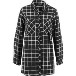 Długa tunika, szeroki fason bonprix czarno-biały w kratę. Białe tuniki damskie bonprix, z długim rękawem. Za 74.99 zł.