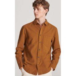 Koszula SIMONE slim KDGS000454 Brązowe koszule męskie  q7CTp