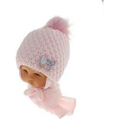 Czapka niemowlęca z szalikiem CZ+S 123B różowa. Czapki dla dzieci marki Pulp. Za 42.82 zł.