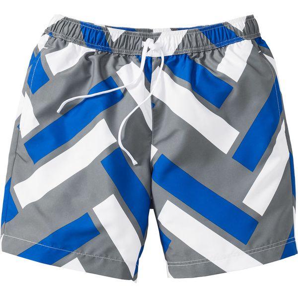 647c22fc10be4e Długie szorty plażowe Regular Fit bonprix lazurowo-szaro-biały wzorzysty -  Niebieskie spodnie materiałowe męskie bonprix, m, bez wzorów. Za 49.99 zł.