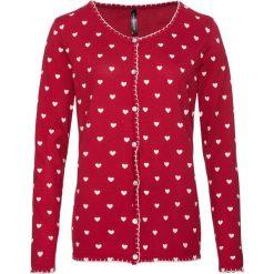 Sweter rozpinany w ludowym stylu bonprix ciemnoczerwono-kremowobiały z nadrukiem. Kardigany damskie marki bonprix. Za 79.99 zł.
