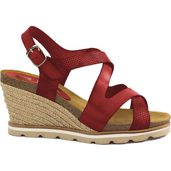 19437b4f7fac3 Skórzane sandały w kolorze bordowym na koturnie - Czerwone sandały ...