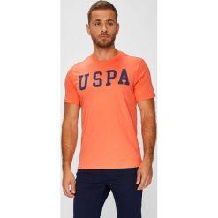 U.S. Polo - T-shirt. Pomarańczowe koszulki polo męskie U.S. Polo, z nadrukiem, z bawełny. W wyprzedaży za 99.90 zł.