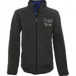 Kurtka polarowa w kolorze ciemnoszarym. Szare kurtki i płaszcze dla chłopców Peak Mountain, z aplikacjami, z polaru. W wyprzedaży za 85.95 zł.