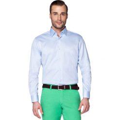 Koszula Błękitna Forest. Niebieskie koszule męskie LANCERTO, w geometryczne wzory, z bawełny, z klasycznym kołnierzykiem. W wyprzedaży za 149.90 zł.