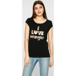 Wrangler - Top. Szare topy damskie Wrangler, z nadrukiem, z bawełny, z okrągłym kołnierzem, z krótkim rękawem. W wyprzedaży za 79.90 zł.