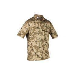 Koszula 500 CAMO ISB. Zielone koszule męskie SOLOGNAC, z bawełny, z krótkim rękawem. W wyprzedaży za 39.99 zł.