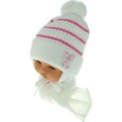 Czapka dziecięca z szalikiem CZ+S 042A różowo-biała r. 46-48. Czapki dla dzieci marki Reserved. Za 52.11 zł.