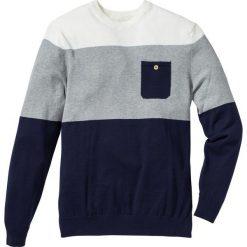 Sweter z kieszonką bonprix ciemnoniebiesko-jasnoszaro-biały w paski. Swetry przez głowę męskie marki Giacomo Conti. Za 74.99 zł.