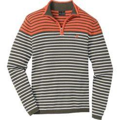Sweter ze stójką w paski, z bawełny z recyclingu bonprix ciemnooliwkowo-ciemnopomarańczowo-biel wełny w paski. Swetry przez głowę męskie marki Giacomo Conti. Za 74.99 zł.
