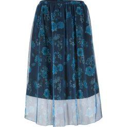 Spódnica siatkowa w kwiaty bonprix ciemnoniebieski z nadrukiem. Niebieskie spódnice damskie bonprix, w kwiaty. Za 89.99 zł.