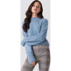Rut&Circle Sweter z bufiastym rękawem Ferdone - Blue. Niebieskie swetry damskie Rut&Circle, z dzianiny, z okrągłym kołnierzem. Za 161.95 zł.