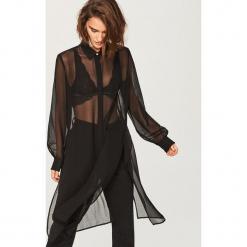 Zwiewna długa koszula - Czarny. Czarne koszule damskie Reserved, z długim rękawem. Za 79.99 zł.