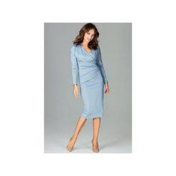 Sukienka K477 Niebieski. Niebieskie sukienki damskie Lenitif, z dekoltem w serek, z długim rękawem. Za 179.00 zł.