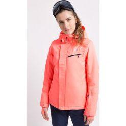 Kurtka narciarska damska KUDN253Z - koralowy. Pomarańczowe kurtki snowboardowe damskie 4f, z materiału. W wyprzedaży za 349.99 zł.