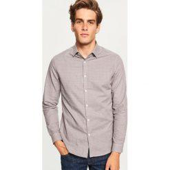 Koszula w kratkę slim fit - Brązowy. Brązowe koszule męskie Reserved, w kratkę. Za 69.99 zł.