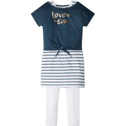 """Shirt """"boxy"""" + sukienka + legginsy (3 części) bonprix ciemnoniebiesko-biało-złoty. Legginsy dla dziewczynek marki OROKS. Za 37.99 zł."""