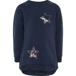 """Bluza """"Rastine"""" w kolorze granatowym. Niebieskie bluzy dla dziewczynek Name it Kids, z aplikacjami, z bawełny. W wyprzedaży za 62.95 zł."""