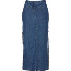 """Spódnica dżinsowa z ozdobnymi paskami bonprix niebieski """"stone"""". Niebieskie spódnice damskie bonprix, w paski. Za 89.99 zł."""
