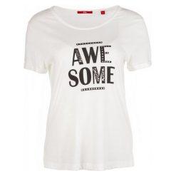 S.Oliver T-Shirt Damski 38 Kremowy. Białe t-shirty damskie S.Oliver, z napisami. Za 60.00 zł.