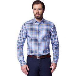 Koszula Niebieska w Kratę Zita. Niebieskie koszule męskie LANCERTO, z bawełny. W wyprzedaży za 149.90 zł.