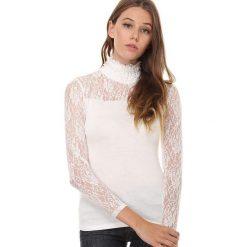 Koszulka w kolorze kremowym. Białe bluzki damskie Assuili, w koronkowe wzory, z koronki, klasyczne, ze stójką, z długim rękawem. W wyprzedaży za 58.95 zł.