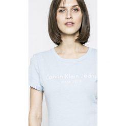Calvin Klein Jeans - T-shirt. Szare t-shirty damskie Calvin Klein Jeans, z jeansu. W wyprzedaży za 99.90 zł.