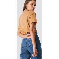 NA-KD Basic T-shirt z odkrytymi plecami - Brown,Beige,Yellow. Brązowe t-shirty damskie NA-KD Basic, z dekoltem na plecach. Za 52.95 zł.