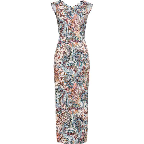 6b84c45bd2 Sukienka w kwiatowy deseń bonprix beżowo-zielono-czerwony z ...