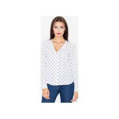 Bluzka M508 Wzór 26. Szare bluzki damskie Figl, z tkaniny, z koszulowym kołnierzykiem. Za 119.00 zł.