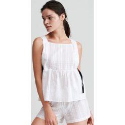 47838248da3b05 Bawełniana piżama z szortami - Kremowy. Białe piżamy damskie Reserved, l,  bez wzorów