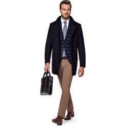 Płaszcz Granatowy Andro. Niebieskie płaszcze męskie LANCERTO, na jesień, z bawełny, eleganckie. W wyprzedaży za 499.90 zł.