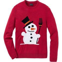 Sweter Regular Fit bonprix ciemnoczerwony. Czerwone swetry przez głowę męskie bonprix. Za 79.99 zł.