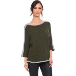 """Sweter """"Cecile"""" w kolorze khaki. Brązowe swetry damskie Cosy Winter, ze splotem, z okrągłym kołnierzem. W wyprzedaży za 159.95 zł."""