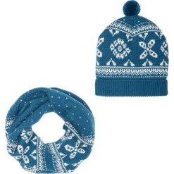 Komplet 2-częściowy: szalik i czapka bonprix ciemnoniebiesko-kremowy. Czapki i kapelusze damskie marki WED'ZE. Za 59.99 zł.