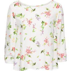 Bluzka z wiskozy bonprix biel wełny w kwiaty. Białe bluzki damskie bonprix, w kwiaty, z wełny. Za 37.99 zł.