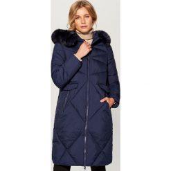 Płaszcz z kapturem - Granatowy. Niebieskie płaszcze damskie Mohito. Za 299.99 zł.