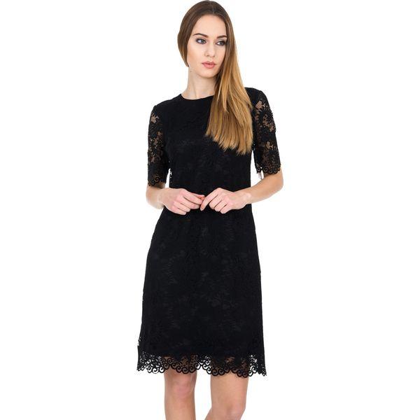 ac4f0876eeddc1 Koronkowa czarna sukienka z podszewką BIALCON - Czarne sukienki ...