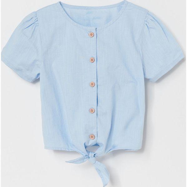 Bawełniana koszula z wiązaniem Niebieski Niebieskie  cMM8m